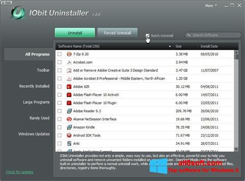 Skærmbillede IObit Uninstaller Windows 8