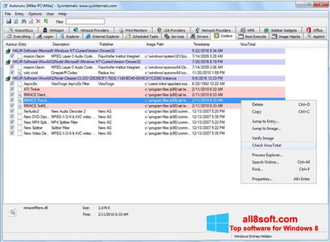 Skærmbillede AutoRuns Windows 8