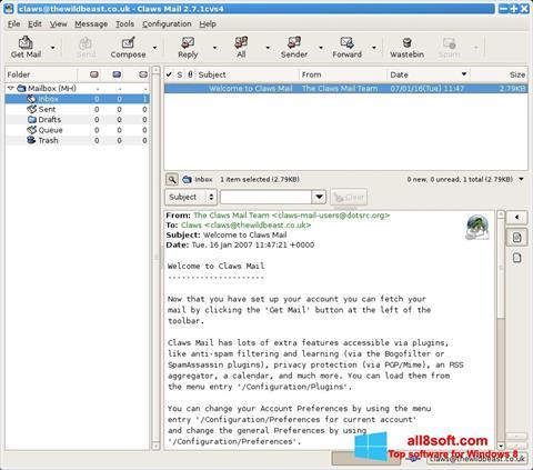 Skærmbillede Claws Mail Windows 8
