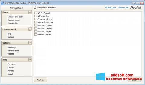 Skærmbillede Driver Sweeper Windows 8
