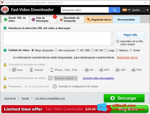 Skærmbillede Fast Video Downloader Windows 8