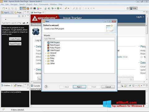 Skærmbillede Aptana Studio Windows 8