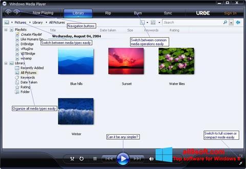 Skærmbillede Media Player Windows 8