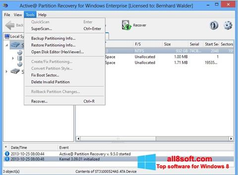 Skærmbillede Active Partition Recovery Windows 8