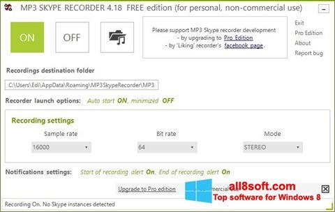 Skærmbillede MP3 Skype Recorder Windows 8