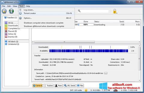 Skærmbillede qBittorrent Windows 8