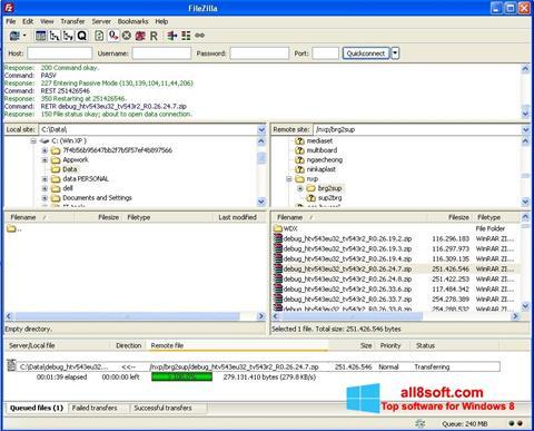 Skærmbillede FileZilla Windows 8