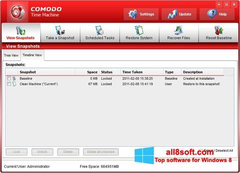 Skærmbillede Comodo Time Machine Windows 8