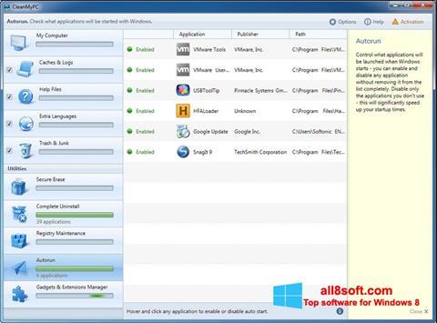 Skærmbillede CleanMyPC Windows 8