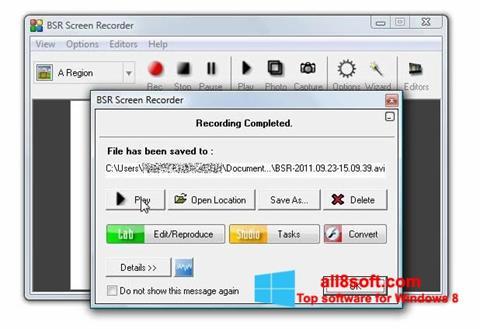 Skærmbillede BSR Screen Recorder Windows 8