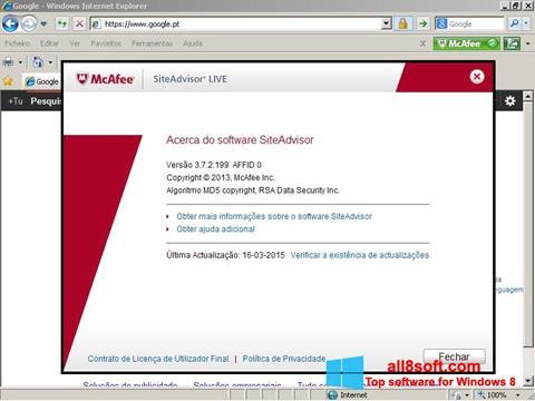 Skærmbillede McAfee SiteAdvisor Windows 8
