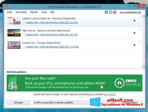 Skærmbillede Free YouTube Download Windows 8