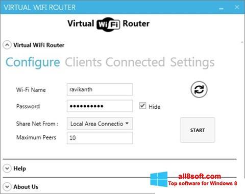 Skærmbillede Virtual WiFi Router Windows 8