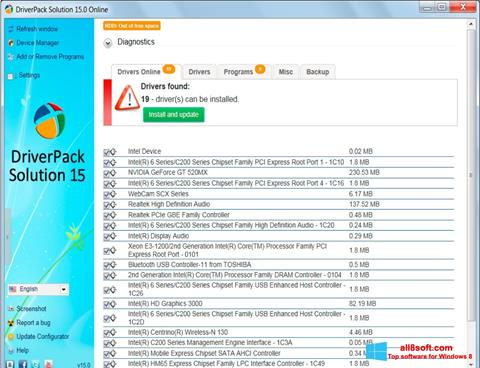 Skærmbillede DriverPack Solution Windows 8