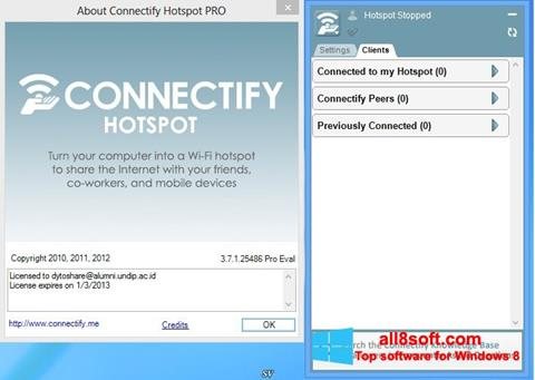 Skærmbillede Connectify Hotspot Windows 8