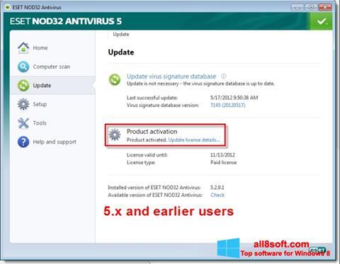 Skærmbillede ESET NOD32 Windows 8
