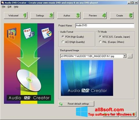 Skærmbillede Audio DVD Creator Windows 8