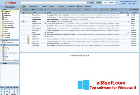Skærmbillede Zimbra Desktop Windows 8