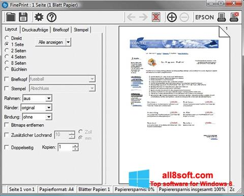 Skærmbillede FinePrint Windows 8