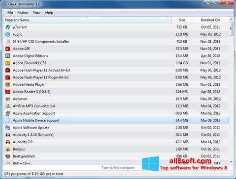 Skærmbillede Geek Uninstaller Windows 8