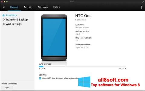 Skærmbillede HTC Sync Windows 8
