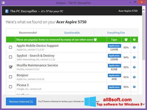 Skærmbillede PC Decrapifier Windows 8