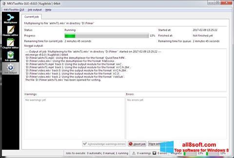 Skærmbillede MKVToolnix Windows 8