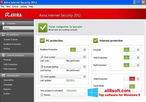 Skærmbillede Avira Internet Security Windows 8