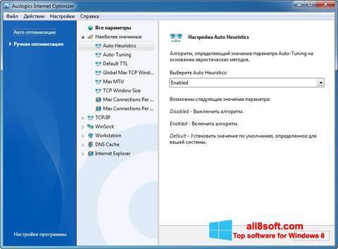 Skærmbillede Auslogics Internet Optimizer Windows 8