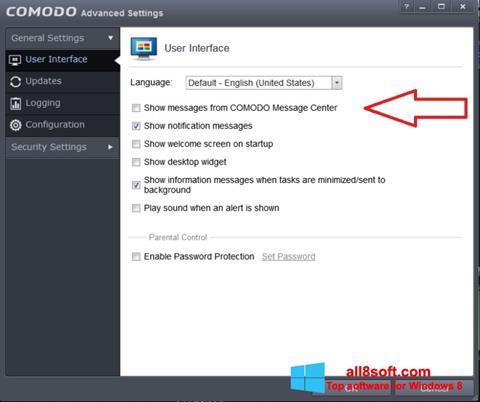 Skærmbillede Comodo Windows 8