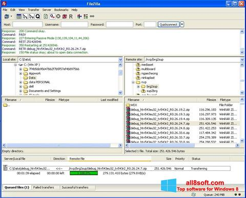 Skærmbillede FileZilla Server Windows 8