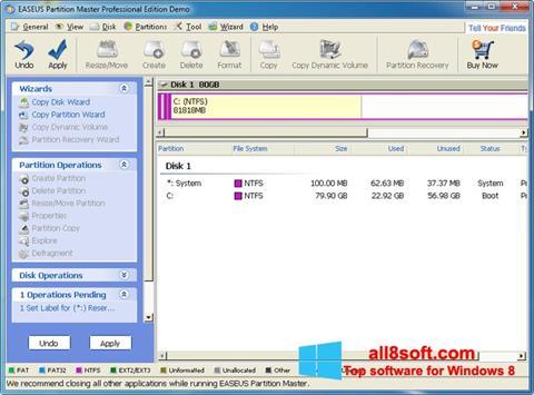 Skærmbillede EASEUS Partition Master Windows 8